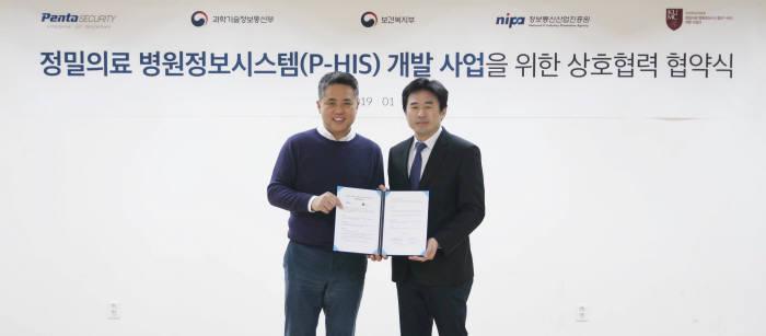 이석우 펜타시큐리티 대표(왼쪽), 이상헌 고려대의료원 P-HIS개발사업단장(오른쪽)