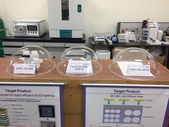 첨단랩이 개발한 고효율·초저가 플렉서블 OLED용 광추출 기능 고분자 기판 전시 모습.