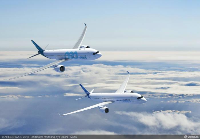 에어버스 A350-900과 A330-900neo. 다쏘시스템 제공