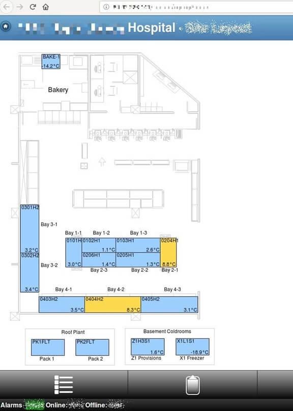 한 영국 병원의 RDM 솔루션 기반 온도제어 시스템 화면. 세이프티디텍티브 사무직원이 구글 검색만으로 접속 가능했다. (출처=SafetyDetective)