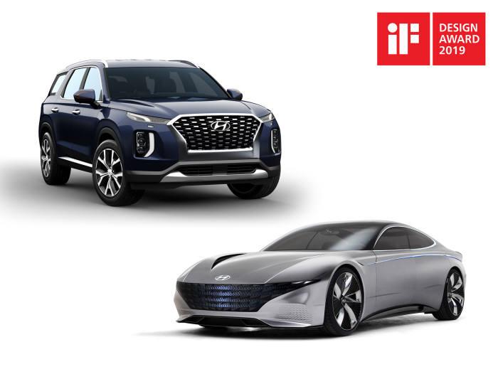 현대차는 콘셉트카 르 필 루즈(Le Fil Rouge)아래와 대형 스포츠유틸리티차(SUV) 팰리세이드