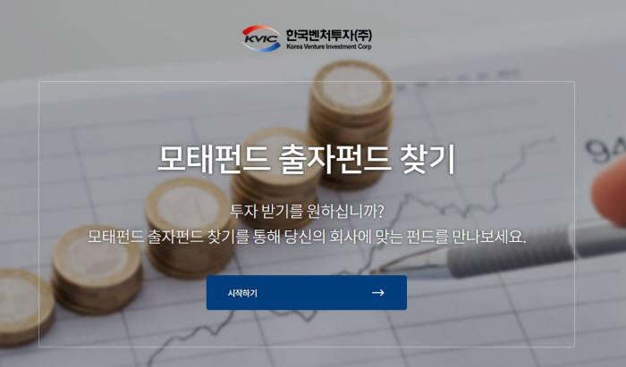 한국벤처투자 모태펀드 출자펀드 찾기 서비스 화면