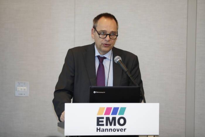 19일 서울 삼성동 그랜드 인터컨티넨탈 서울 파르나스 호텔에서 EMO를 주최하는 독일공작기계협회(VDW), 도이치메세가 미디어 간담회를 열고 올해 열릴 EMO를 소개했다. <사진=아이피알포럼>