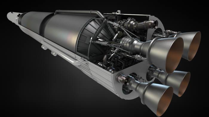 한국형 발사체 누리호 1단의 모습. 항우연은 하나로 합친 거대 추진제 탱크와 네 추진기관 시스템 네 개를 활용하는 방식으로 클러스터링 엔진을 설계했다.