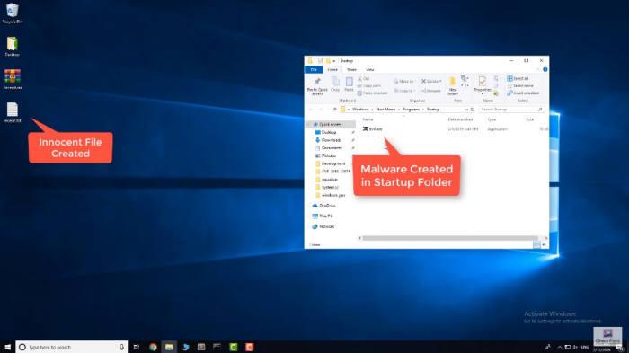 체크포인트 유튜브 화면 캡처. 정상파일로 위장한 압축파일을 풀자 윈도 시작프로그램 폴더에 악성파일이 생성됐다.