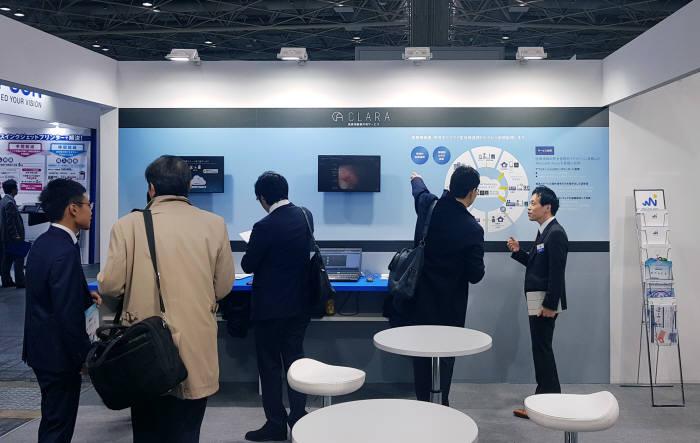 틸론은 애플리케이션 가상화 솔루션 에이스테이션으로 일본 원격의료시장에 본격 진출, 해외 시장 공략에 역점을 두고 있다. 사진은 `메디칼재팬 2019`에 참관한 틸론 제품 전시관.