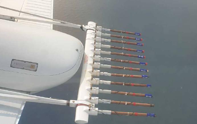 비행 중 인공강우물질 살포 모습. [자료:기상청]