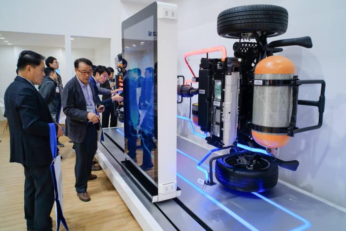 지난해 11월 열린 대구국제미래자동차엑스포에서 관람객들이 현대자동차 수소전기차 절개모형 부스를 보고 있다.