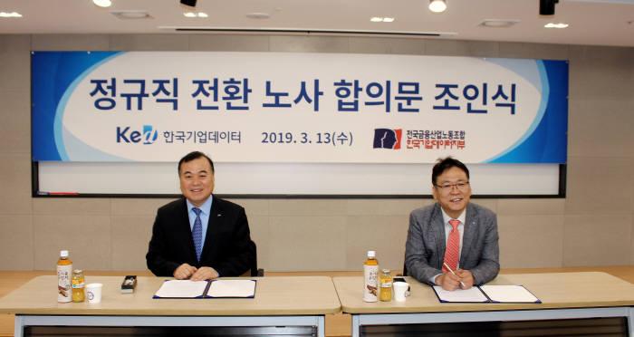 송병선 한국기업데이터 대표(왼쪽)와 윤주필 노조위원장이 정규직 전환 노사 합의문 조인식에서 합의문에 서명하고 있다.