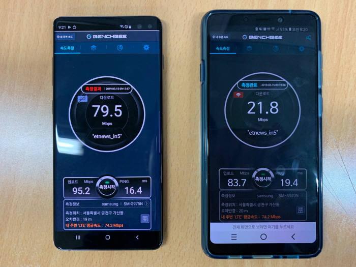 와이파이 속도 측정 비교. 왼쪽이 갤럭시 S10+, 오른쪽이 갤럭시 A9