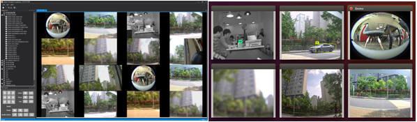 메뵈우스솔루션의 선별영상 모니터링(왼쪽)과 분석영상 모니터링 화면.