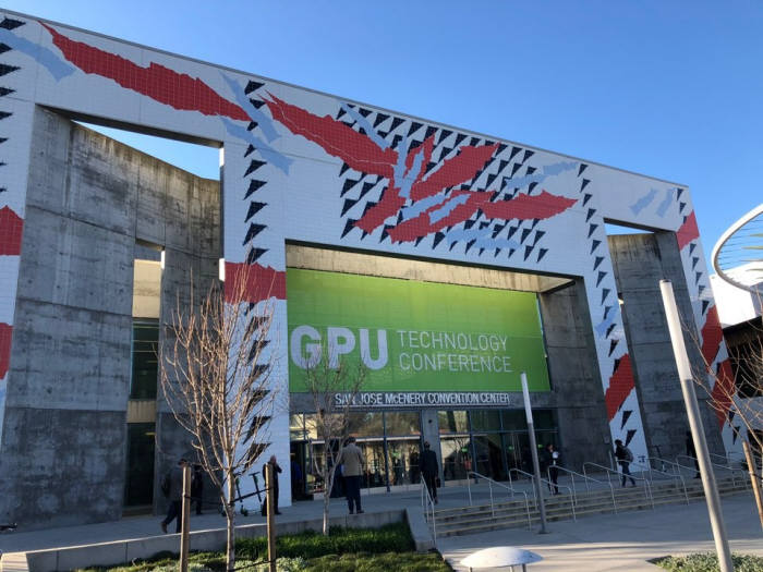 씨이랩은 미국 캘리포니아 새너제이서 열리는 엔비디아 그래픽처리장치기술 콘퍼런스(GTC)에 참여했다. 사진은 GTC 행사 출입구 모습