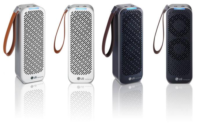 LG전자가 22일 휴대용 공기청정기 LG 퓨리케어 미니 공기청정기를 출시한다. 사진은 LG 퓨리케어 미니 공기청정기의 화이트, 블랙 색상 제품.