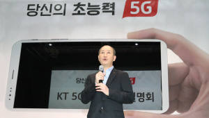 5G 기술 설명하는 오성목 KT사장