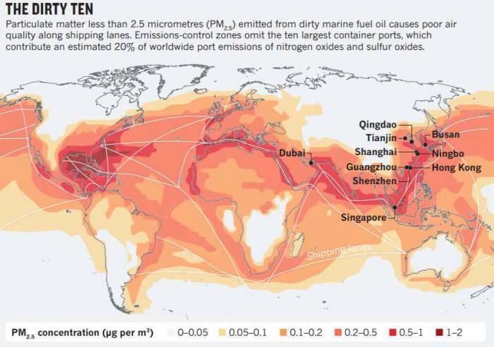 세계 10대 초미세먼지 다량 배출 항만 분포도.