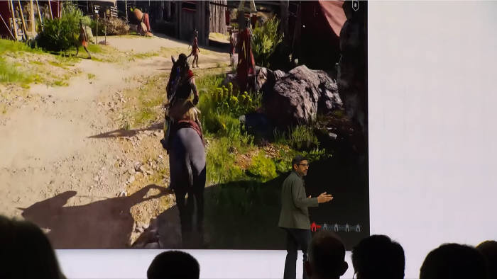 순다르 피차이(Sundar Pichai) 구글 CEO가 GDC19에서 클라우드 게임 플랫폼 스타디아를 소개하고 있다 [사진=구글]