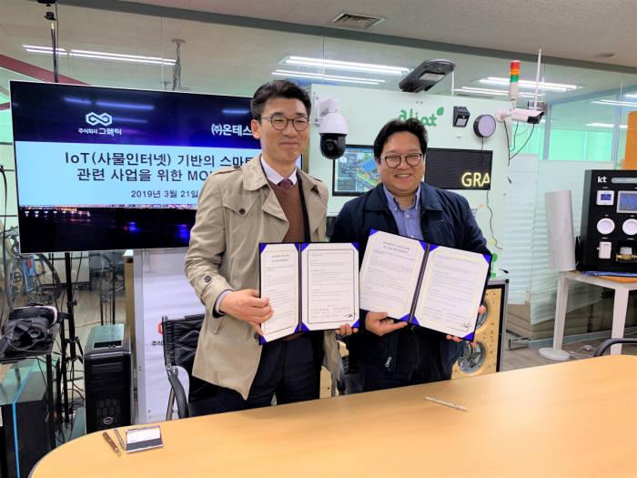 김영신 그렉터 대표(오른쪽)와 진병진 온테스트 대표가 서울 송파구 그렉터 본사에서 중동 스마트시티 홈 시장 공략을 위한 MOU를 교환했다.