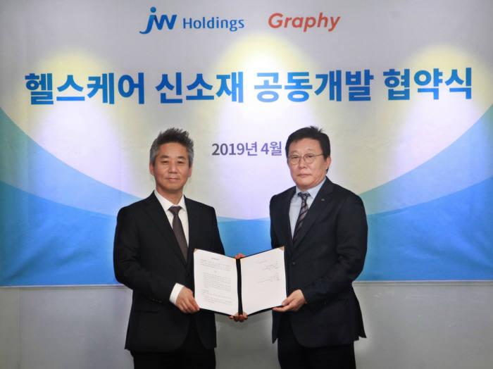 한성권 JW홀딩스 대표(오른쪽)와 심운섭 그래피 대표가 헬스케어 신소재 공동개발 계약을 체결하고 기념촬영을 하고 있다.