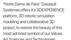 다쏘시스템, 파리 노트르담성당 복원에 3DX 플랫폼 지원