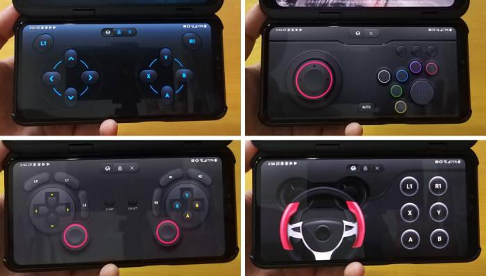 (왼쪽위부터 시계방향으로) 베이직, 아케이드, 레이싱, 콘솔 게임패드