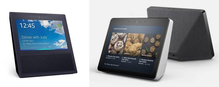 아마존 에코 쇼(왼쪽)는 출시 당시에는 다른 AI 스피커는 제공하지 않는 화질과 음질을 자랑했다. 이후, 아마존은 지난해 9월 화질과 음질을 개선한 에코 쇼 2세대를 출시했다.