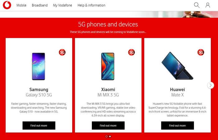 영국 보다폰은 곧 출시할 5G 스마트폰 목록에 삼성전자 갤럭시S10 5G, 샤오미 미믹스 5G 등과 함께 화웨이 폴더블폰 메이트X를 소개했다.