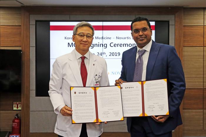 이기형 고려대 의무부총장(좌측)과 조쉬 베누고팔 한국노바티스 대표(우측)가 업무협약을 체결했다