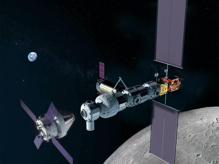 NASA가 달 궤도에 구축할 달 궤도 우주정거장(게이트웨이) 상상도. 사진=NASA