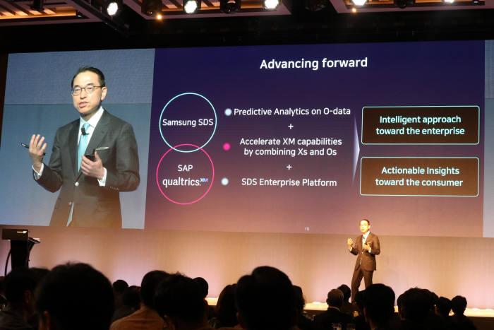 홍원표 삼성SDS 대표가 11일 서울 삼성동 그랜드인터컨티넨탈에서 열린 SAP 이그제큐티브 써밋에서 SAP·퀄트릭스와 협력에 대해 발표하고 있다. 박종진기자 truth@