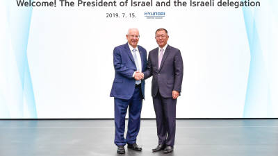 리블린 이스라엘 대통령, 정의선 현대차 수석부회장과 미래車 협력 논의