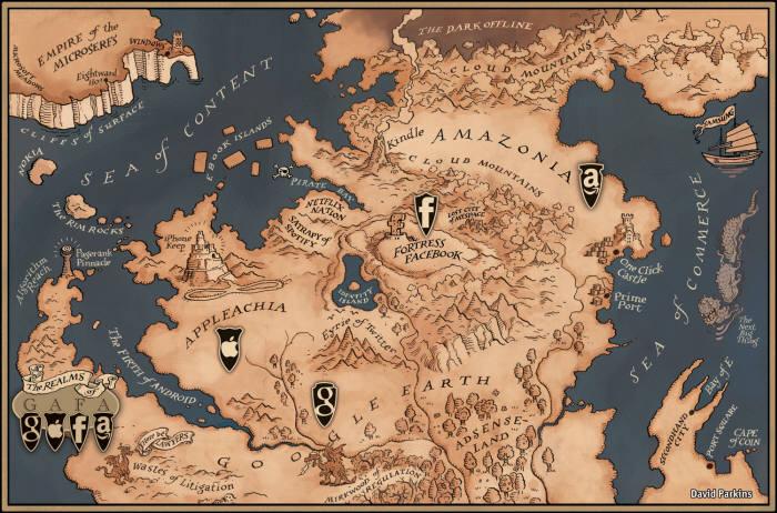 글로벌CP의 세계시장 지위를 나타낸 가파(GAFA)왕국 지도