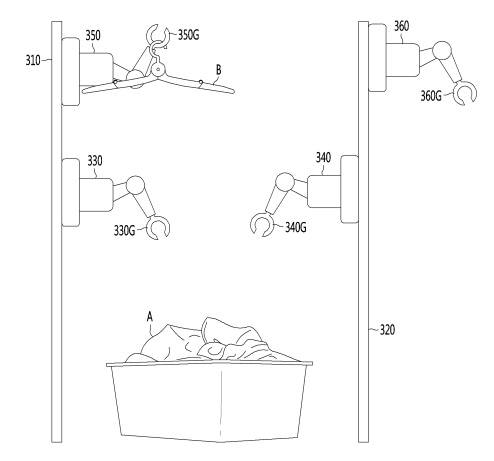 LG전자 빨래 개는 로봇 특허. 여러개 로봇 팔이 빨래를 집어 들고 옷을 갠다. 출처 : 특허청