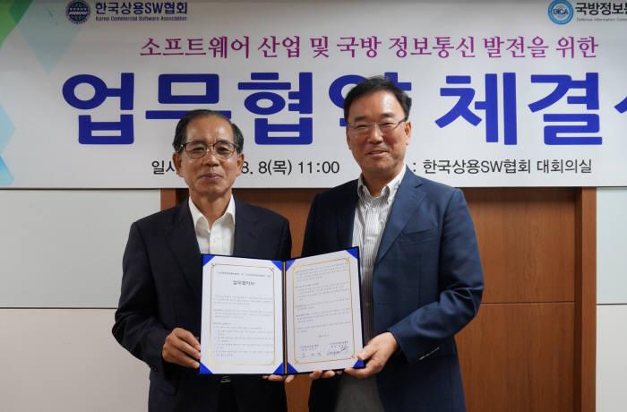 송영선 한국상용SW협회장(오른쪽)과 김재민 국방정보통신협회장.
