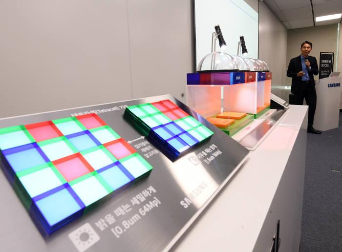 지난 5월 삼성전자는 0.8마이크로미터 초소형 픽셀을 적용한 초고화소 이미지센서 신제품을 공개했다. 박용인 삼성전자 시스템LSI사업부 센서사업팀 부사장이 제품을 소개하고 있다.