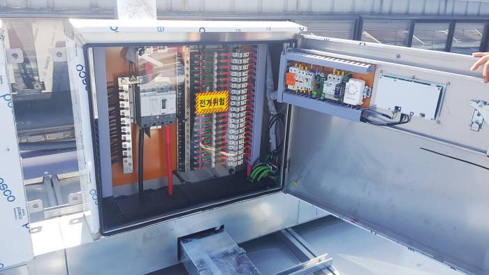 지붕형 태양광발전소에서 생산한 전기는 전기실(사진)을 통해 인버터로 전달된다.