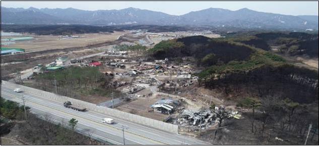 지적재조사 지역 드론으로 촬영한 사진