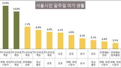 """서울시민 절반 """"주중 여가 때 TV, 인터넷, 게임"""""""