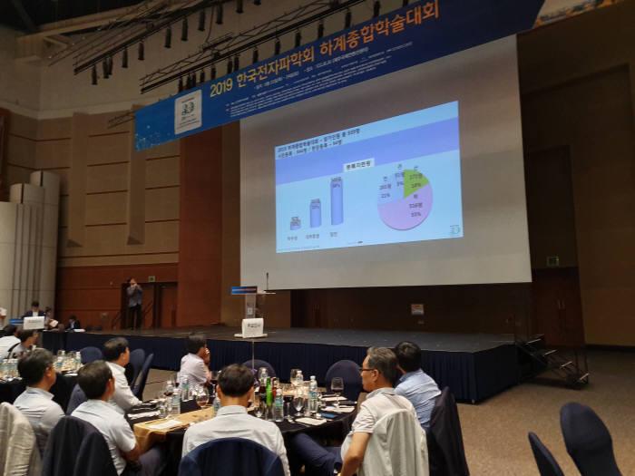 2019 한국전자파학회 하계종합학술대회에서 연구성과를 발표하고 있다.