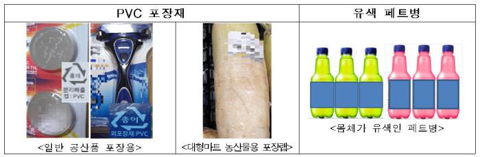 포장재 금지대상 제품 사례. [자료:환경부]