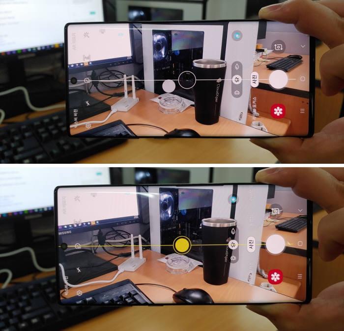 촬영구도 가이드로 사진을 촬영하고 있다. 꽉찬 화면이 인상적이다.