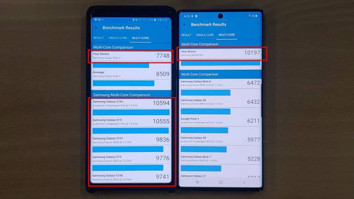 노트9(왼쪽)과 노트10(오른쪽) 긱벤치 측정결과 비교. 국내 노트10 모델에는 삼성 엑시노스 9825가 탑재됐다. 자체 긱벤치 성능 측정 결과로는 퀄컴 스냅드래곤 845를 탑재했던 노트9보다 월등히 나아진 성능을 보여주고 있는 반면, 삼성 엑시노스 9820을 탑재한 S10과 비슷한 성능을 보였다.