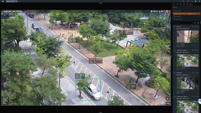 VCA 서버를 활용한 실제 영상분석 화면
