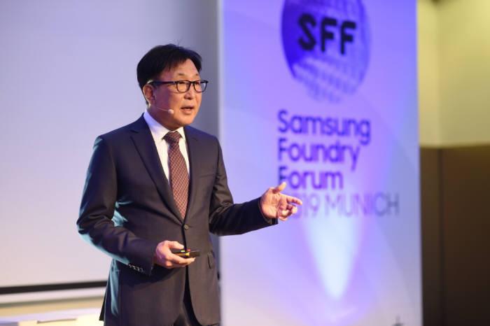 10일 독일에서 열린 삼성 파운드리 포럼 2019 뮌헨에서 정은승 삼성전자 파운드리사업부 사장이 기조연설을 하고 있다.