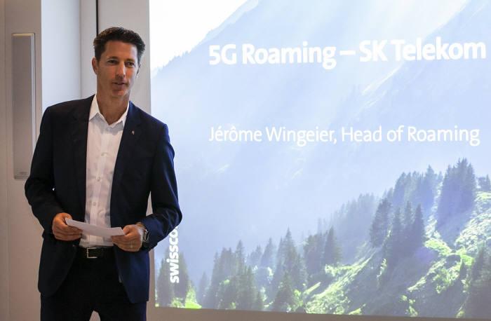 제롬 윈가이어 스위스콤 로밍사업대표가 SKT와 5G로밍 협력에 대해 설명 하고 있다.