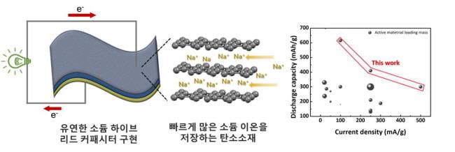 많은 소듐이온을 빠르게 저장할 수 있는 탄소음극소재와 이를 이용해 구성한 신규 에너지저장시스템 소듐 하이브리드 커패시터