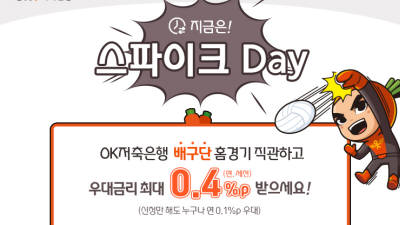 OK저축銀, '스파이크 데이' 특별금리 이벤트 진행…최대 年 2.3% 제공