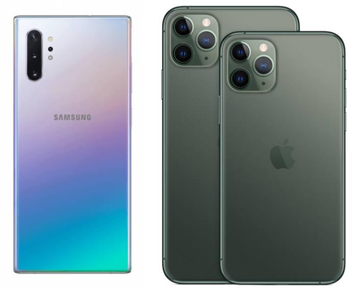 갤럭시 노트10(왼쪽), 아이폰 11 프로(맥스)