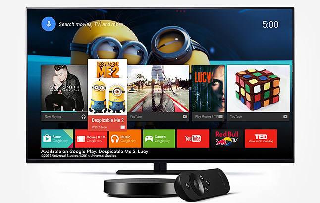 구글에서 개발한 셋톱박스 넥서스플레이어를 통해 TV에서 안드로이드 OS를 구동한 모습 [사진=네이버]