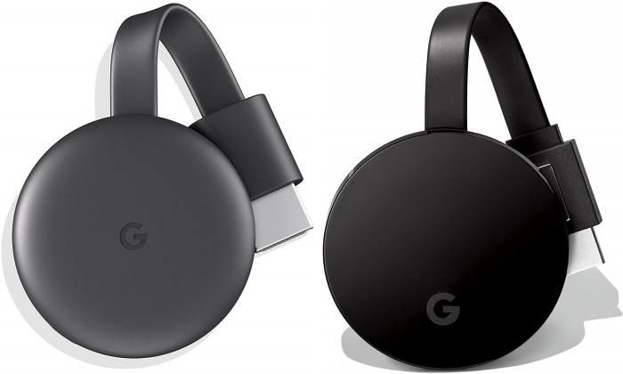 최근 출시된 구글 크롬캐스트 3세대(왼쪽)와 상위모델 크롬캐스트 울트라 [사진=아마존]