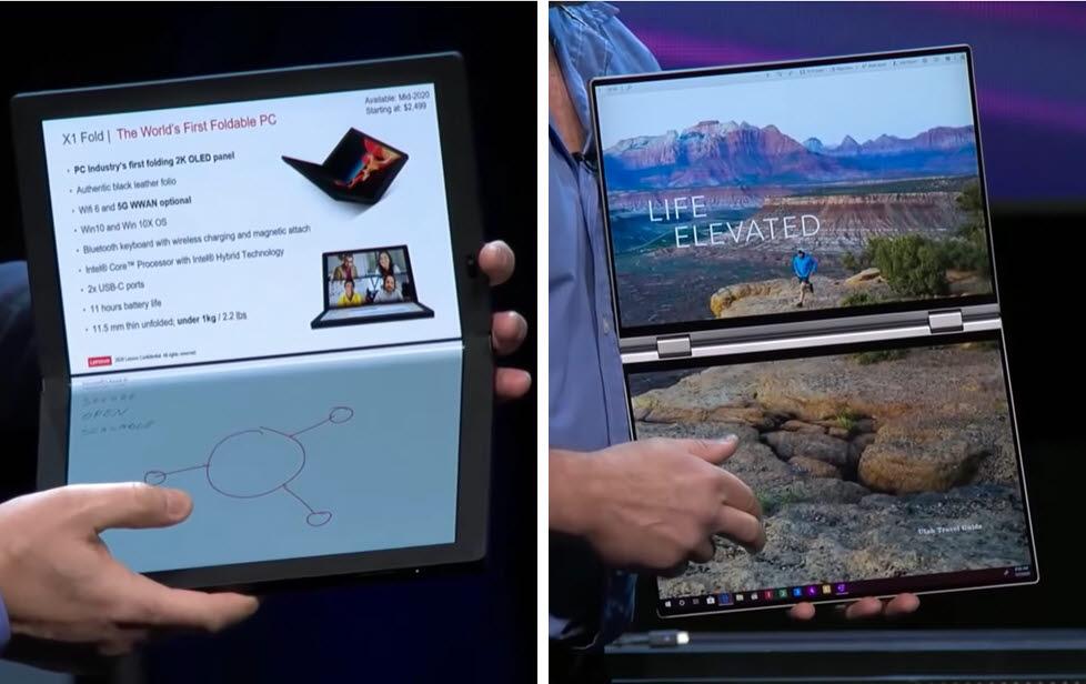CES 2020 인텔 키노트 연설에서 공개된 레노버 X1 폴드(왼쪽)와 델 콘셉트 듀엣. 두 제품은 레이크필드 탑재가 예상되는 모델로, 2021년 출시를 예상하고 있다. [사진=엔가젯]